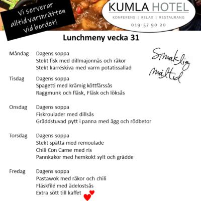 Lunchmeny vecka 31